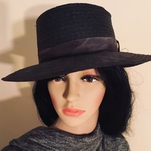 Accessories - Black Banded Straw Glamour Hat accessory